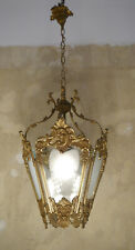 OLD BRASS HANGING LANTERN CHANDELIER LAMP CUT SATIN GLASS USED LUSTRE
