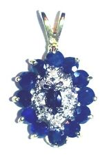 Elegant stunning BLUE SAPPHIRE AND  DIAMOND  necklace charm */*14k gold setting