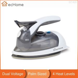 ecHome Mini Palm-Sized Travel Steam Iron Dual Voltage Compact Small Grey Color