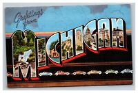 Vintage 1930's Postcard Greetings from Michigan Antique Autos State Scenes NICE