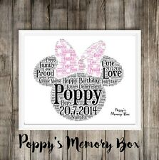 Personalised Disney Minnie Mouse Word Art Christmas Birthday Baby Gift Print