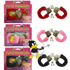 Sexy Handcuffs with FUR Love Cuffs Stag Hen Party Novelty Red Pink Black