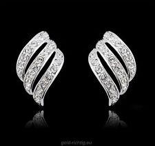 2 Ohrringe Zirkonia (Geschenk Ohrstecker Damenschmuck silber Kristall) NEU+OVP