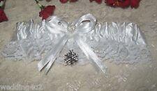 Wedding Ceremony Supplies Bridal Garter ~Winter Snowflake~ White Satin & Lace