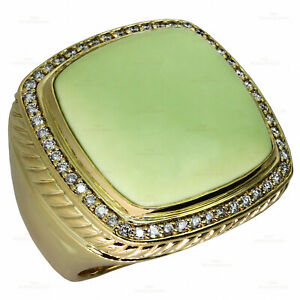 DAVID YURMAN Albion Green Chrysoprase Diamond 18k Yellow Gold Large Ring