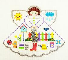 *New* Happy Gardener Angel & Charms handpainted Needlepoint Canvas Painted Pony