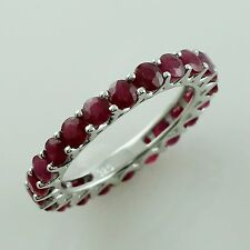 Natural Ruby 2.56 Ct. Band Ring Eternity 925 Silver Engagement Women Jewelry