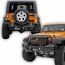 HD Combo Front Bumper+Rear Bumper+OE Fog light Hole For 07-17 Jeep JK Wrangler