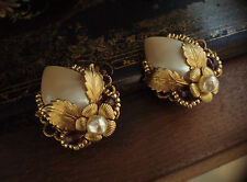 Vintage Amethyst and Pearl Clip Earrings with Gold Flowers. Miriam Haskell Style