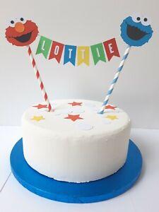 Personalised Cake Topper Bunting Birthday Sesame Street Elmo Cookie Monster
