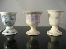 Antique Egg Cup Porcelain Lot of 3 - Blue, Lavender and White - Must See!