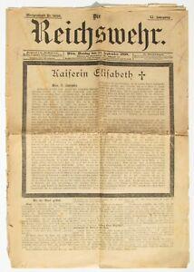 """Zeitung - """" Reichswehr  - Mord an der Kaiserin Elisabeth - 12. September 1898 """""""