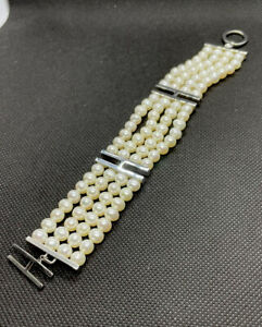 """Bracelet Pearls With Silver clasp with white 12 rows pearls 8"""" 96 Pearls 54 Gr"""