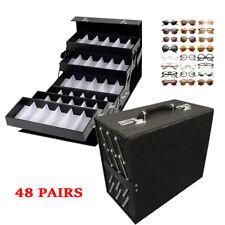 48 Slot Sunglasses Storage Organizer Eye Glasses Jewelry Display Suitcase Box Us