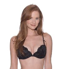 NWOT Playboy Black And Gold Unlined Demi Bra Size 32C