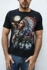 ROCK CHANG T-shirt Indian Spirit Guide Black Short Sleeve Cotton Indie M 38-40