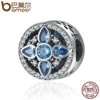 BAMOER 925 Sterling silver Charm Crystal world With Blue CZ Fit bracelet Jewelry