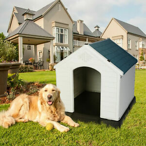 New Large Outdoor Elevated Dog House Indoor Pet Crate Cage Yard Puppy Kennel