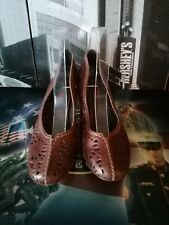 Women's Pikolinos Pump Heels Shoes Laser EU 39 US 8-8.5 Brown Leather Slip On