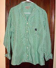 VTG Calvin Klein Sport Green an White Stripe Blouse with Foldup Cuffs & Emblem-M