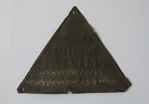Antique Metal Sign Plaque first insurance company in pre-war Latvia VERY RARE