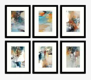 John Lewis Natasha Barnes - Painterly Abstract Framed Print & Mount, Set of 6