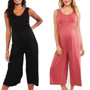 Maternity Women Sleeveless Casual Jumpsuit Pregnant Summer Wide Leg Playsuits UK