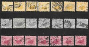 Bulk Stamps Western Australia  Swan Selection x 21 Good/Fine Used, 1d, 2d