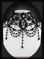 Viktorianischer Trauerschmuck Perlen Collier schwarz Halsband Choker Vintage