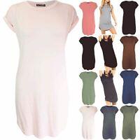 Ladies Women Plain Baggy Turn Up Sleeve Curved Hem Oversized Side Cut Mini Dress