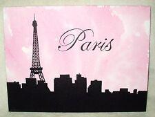 Peinture sur toile Ville de Paris Tour Eiffel art rose cityscape 16x12 pouces acrylique