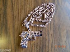 MIP-2pac Pistol design rose colored gold tone pendant w/ 30 inch Hip Hop Chain