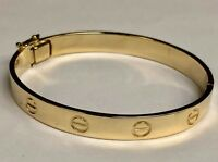 18k Solid Yellow Gold Screw LOVE Design Bangle/Bracelet  8 mm 45 grams, 7 Inch