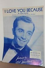 "Leon Payne, ""I Love You Becuase"" Sheet Music, Vintage ~ WH"