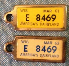 1961 & 1963 WI Mini Disabled American Vet License Plate Tag KEy chain