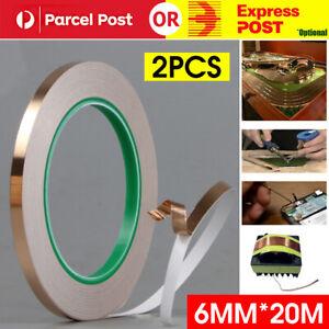 2x Conductive Copper Adhesive Foil High Heat Temperature Tape 6mm*20m