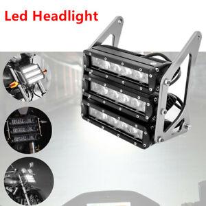 Motorcycle ATV 12V DC Modified White LED Headlight Lamp Fog Light w/ CNC Bracket