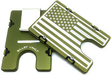 Men's Large American Flag Aluminum Wallet, RFID protection, Green anodized
