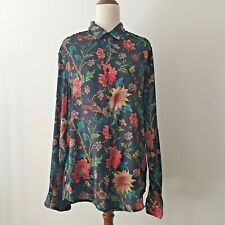 ASOS Black floral long sleeved button-up shirt SIZE M (10)