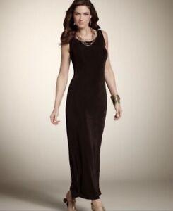 Women's CHICO'S Travelers Sz 1 Ribbed Scoop Neck Maxi Dress Black Slimming 8 LN