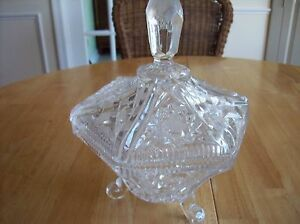 VINTAGE - LARGE LEAD GLASS CANDY DISH WITH LID FROM GERMANY