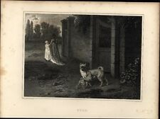 Pugs Dog image c 1820 fine antique engraved print