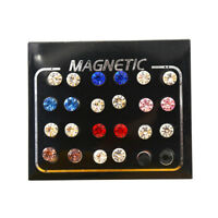 12 pairs Fashion Mixed Color Magnets Earrings No Piercing Ear Stud 3/4/5/6mm EL