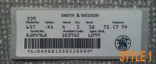 Smith & Wesson Box Computer Printed End Label