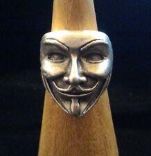 Anneau Masque Guy Fawkes Zamak Argent Réglable V pour Vendetta Anonyme