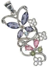 Clúster de piedras preciosas de iolite & Turmalina Mariposa De Plata De Ley Colgante + Cadena