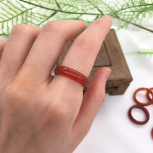 Red Agate Carnelian Solid Band Ring Crystal Quartz Gemstone Healing Jewelry #8