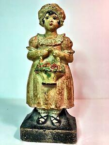 "Antique Original ""Lady Holding Flower Basket"" Cast Iron Doorstop"