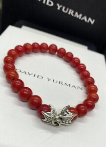 "DAVID YURMAN Men's  8mm Coral  Spiritual Beads Bracelet 8.5"""
