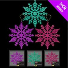 Pack de 6 Purpurina Colgante Copos De Nieve Decoración De Navidad